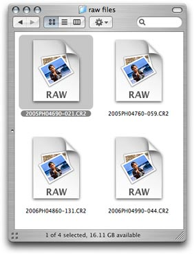 Select a raw file