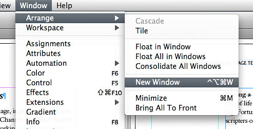 The New Window command gives you a second window on the same document, which can display a different page.