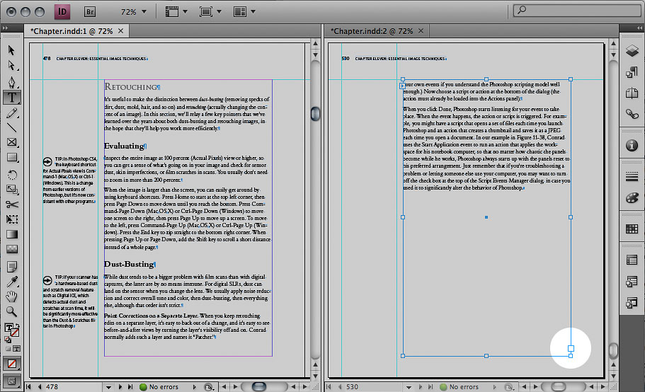 With two views, you can edit a page in the middle of the document while watching for the overset text indicator to go away on the last page.