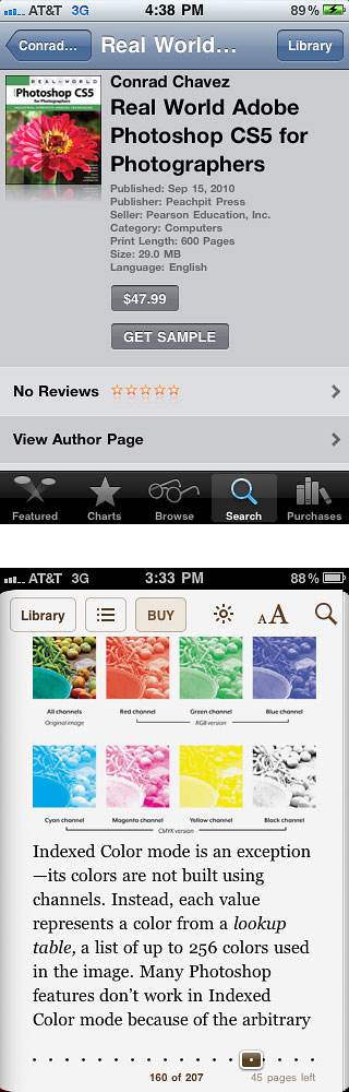 Reading my book on an iPhone