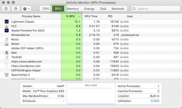 Activity Monitor GPU status