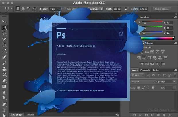 Photoshop CS6 workspace