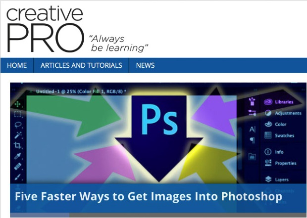 CreativePro article: Five Faster Ways to Get Images Into Photoshop